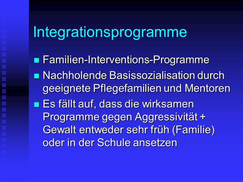 Integrationsprogramme Familien-Interventions-Programme Familien-Interventions-Programme Nachholende Basissozialisation durch geeignete Pflegefamilien