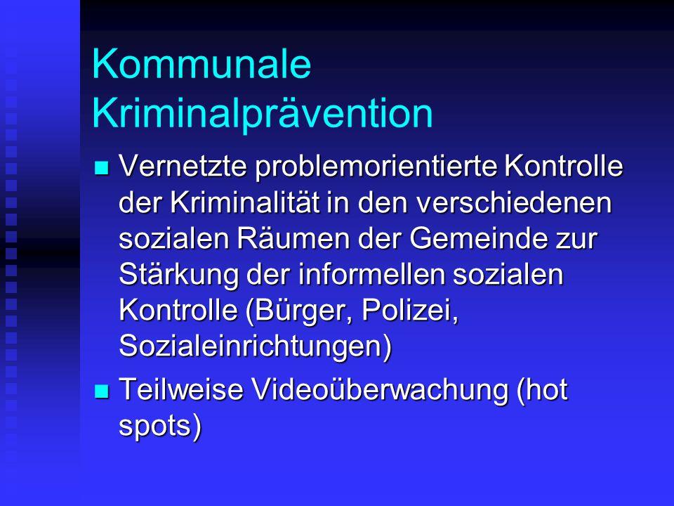 Kommunale Kriminalprävention Vernetzte problemorientierte Kontrolle der Kriminalität in den verschiedenen sozialen Räumen der Gemeinde zur Stärkung de