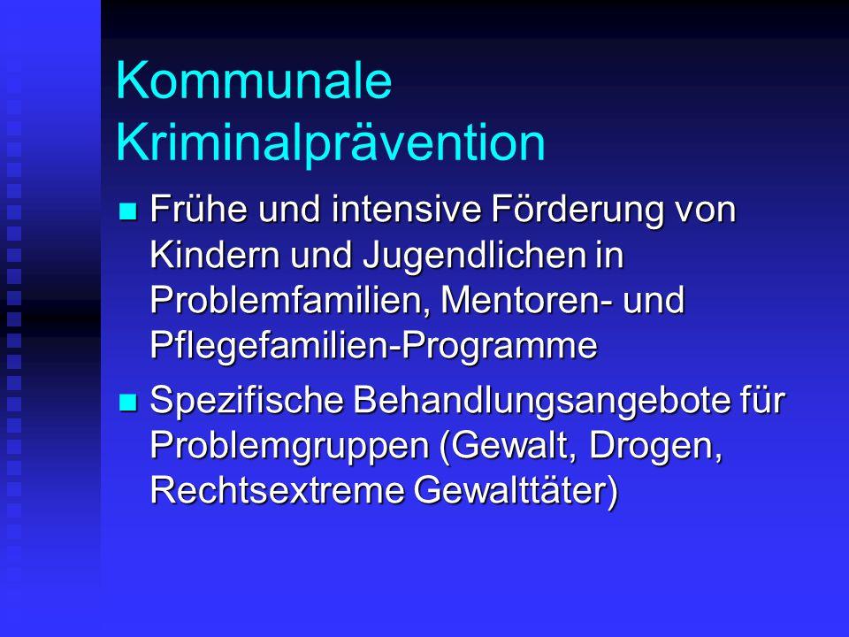 Kommunale Kriminalprävention Frühe und intensive Förderung von Kindern und Jugendlichen in Problemfamilien, Mentoren- und Pflegefamilien-Programme Frü