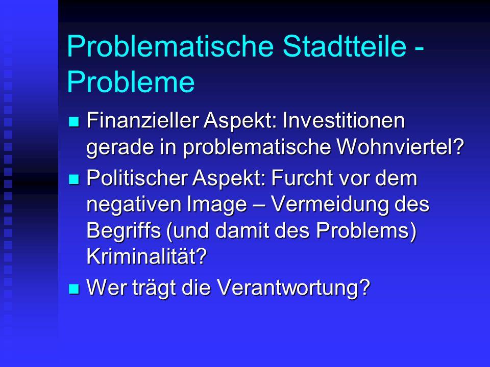 Problematische Stadtteile - Probleme Finanzieller Aspekt: Investitionen gerade in problematische Wohnviertel? Finanzieller Aspekt: Investitionen gerad