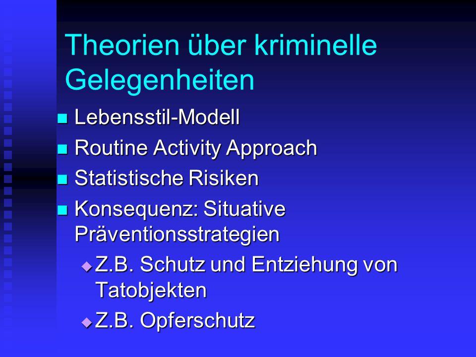 Theorien über kriminelle Gelegenheiten Lebensstil-Modell Lebensstil-Modell Routine Activity Approach Routine Activity Approach Statistische Risiken St