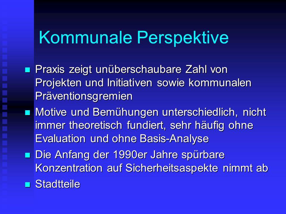 Kommunale Perspektive Praxis zeigt unüberschaubare Zahl von Projekten und Initiativen sowie kommunalen Präventionsgremien Praxis zeigt unüberschaubare