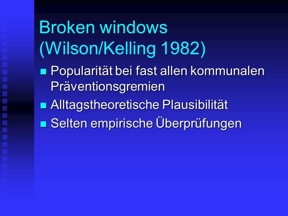 Broken windows (Wilson/Kelling 1982) Popularität bei fast allen kommunalen Präventionsgremien Popularität bei fast allen kommunalen Präventionsgremien