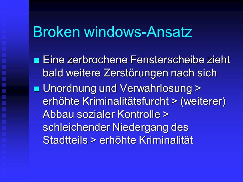 Broken windows-Ansatz Eine zerbrochene Fensterscheibe zieht bald weitere Zerstörungen nach sich Eine zerbrochene Fensterscheibe zieht bald weitere Zer