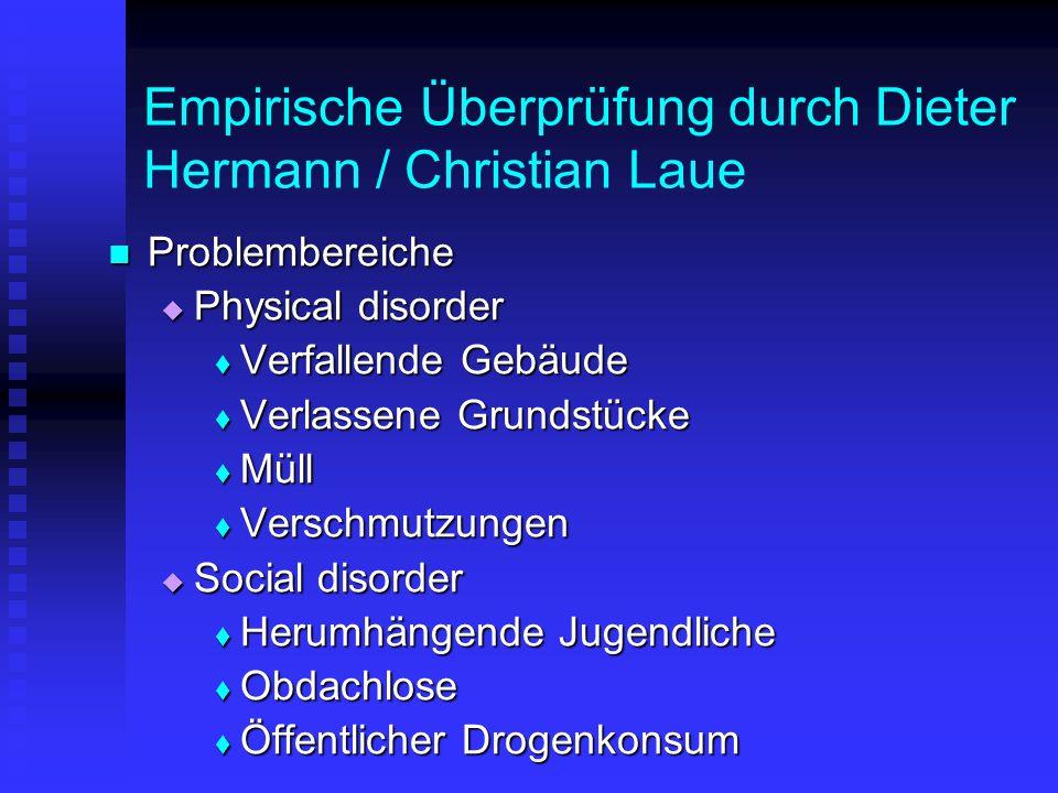 Empirische Überprüfung durch Dieter Hermann / Christian Laue Problembereiche Problembereiche  Physical disorder  Verfallende Gebäude  Verlassene Gr