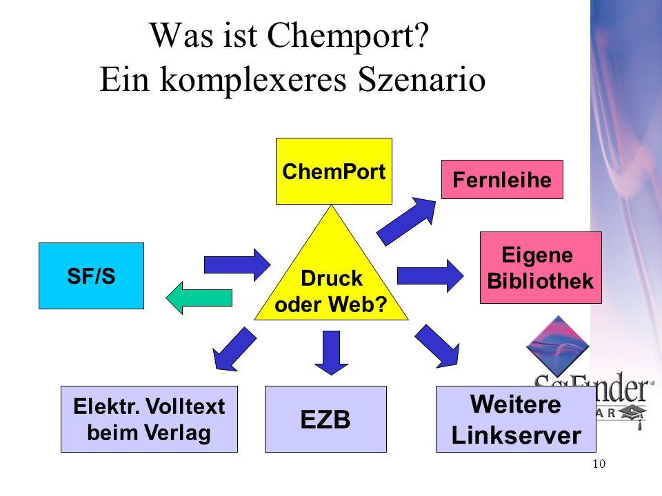10 Was ist Chemport. Ein komplexeres Szenario Elektr.
