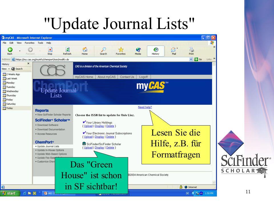 11 Update Journal Lists Lesen Sie die Hilfe, z.B.