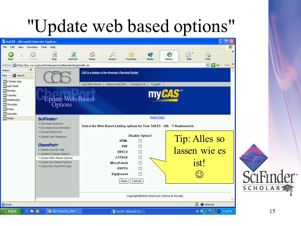 15 Update web based options Tip: Alles so lassen wie es ist!
