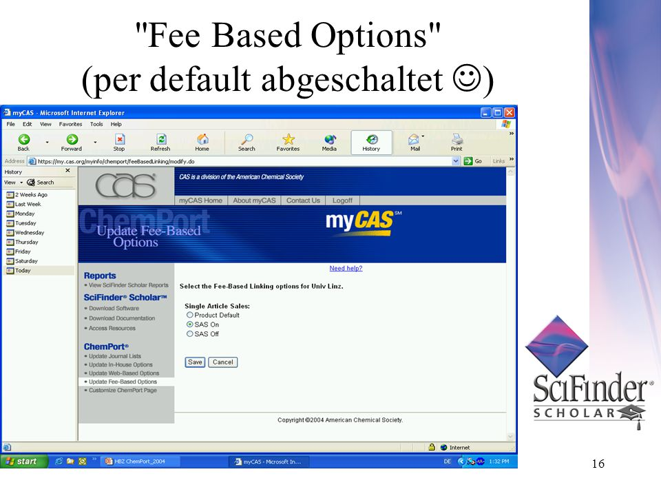 16 Fee Based Options (per default abgeschaltet )
