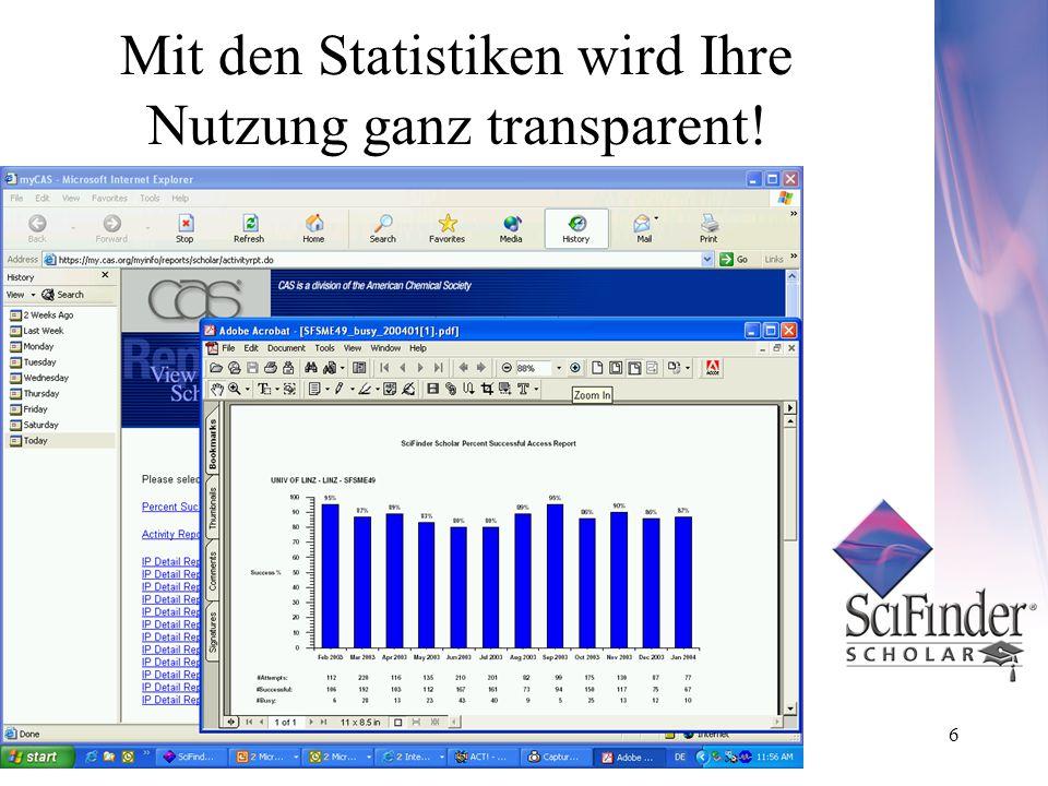 6 Mit den Statistiken wird Ihre Nutzung ganz transparent!