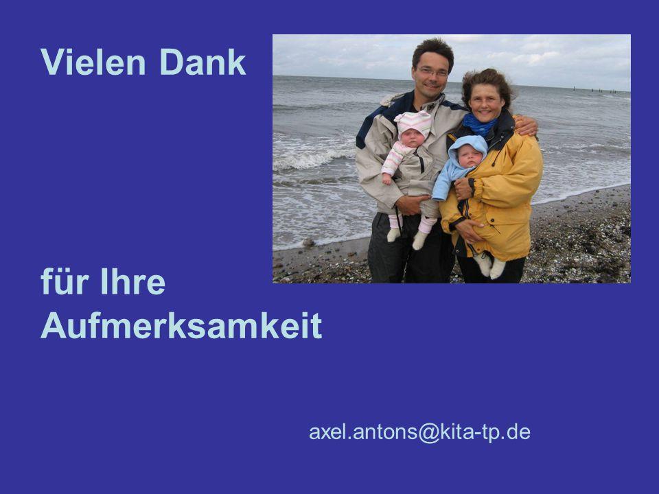 Vielen Dank für Ihre Aufmerksamkeit axel.antons@kita-tp.de