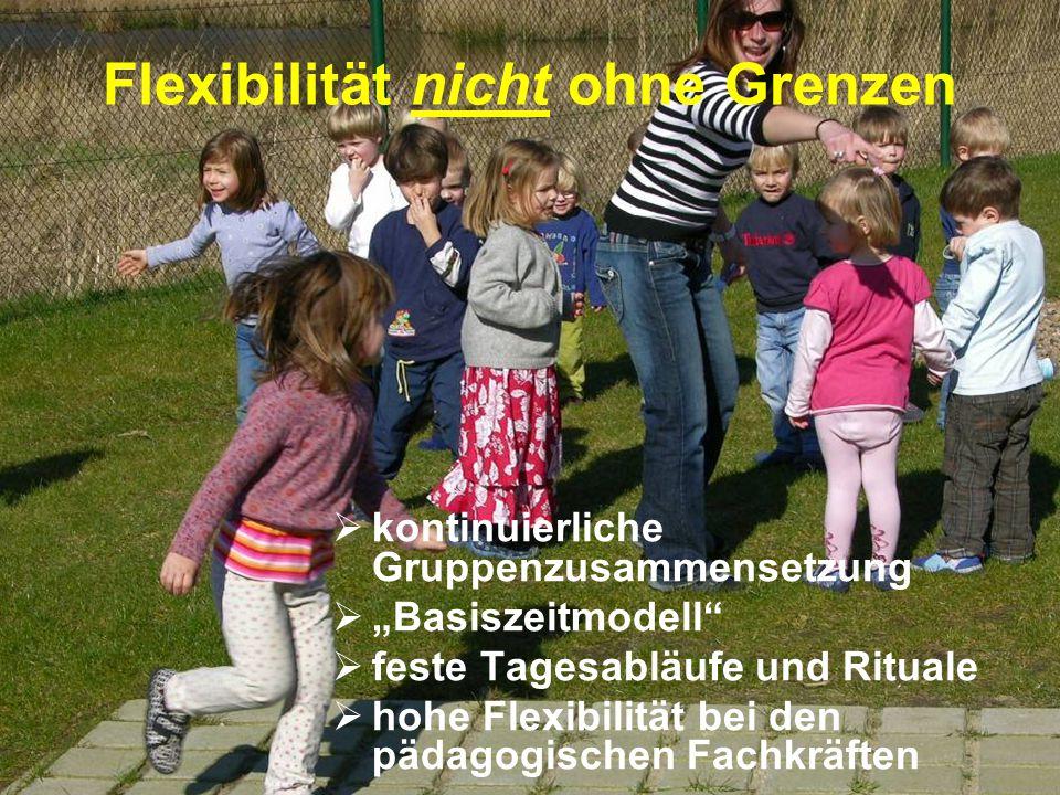 """Flexibilität nicht ohne Grenzen  kontinuierliche Gruppenzusammensetzung  """"Basiszeitmodell""""  feste Tagesabläufe und Rituale  hohe Flexibilität bei"""