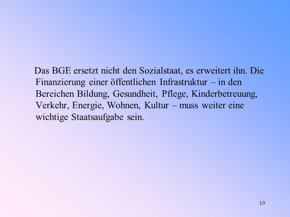 10 Das BGE ersetzt nicht den Sozialstaat, es erweitert ihn.