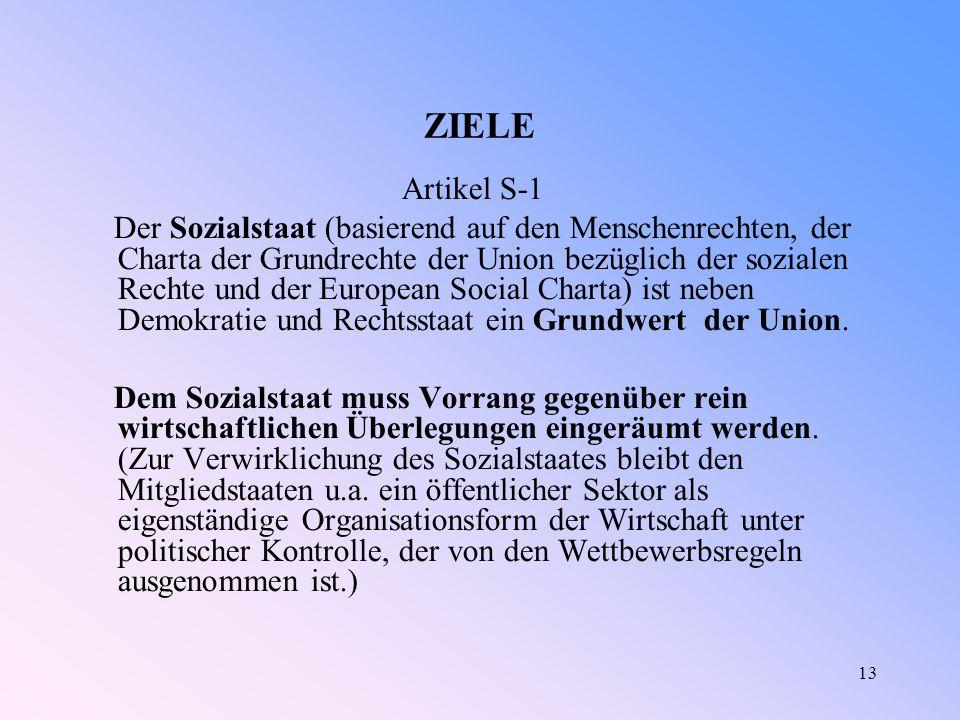 13 ZIELE Artikel S-1 Der Sozialstaat (basierend auf den Menschenrechten, der Charta der Grundrechte der Union bezüglich der sozialen Rechte und der European Social Charta) ist neben Demokratie und Rechtsstaat ein Grundwert der Union.