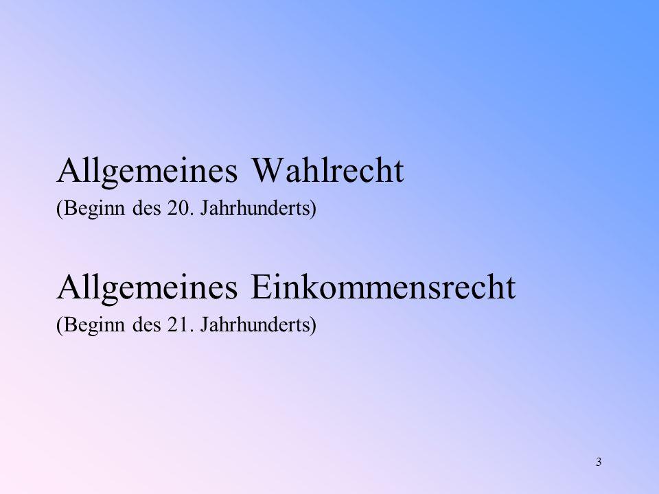 3 Allgemeines Wahlrecht (Beginn des 20.Jahrhunderts) Allgemeines Einkommensrecht (Beginn des 21.