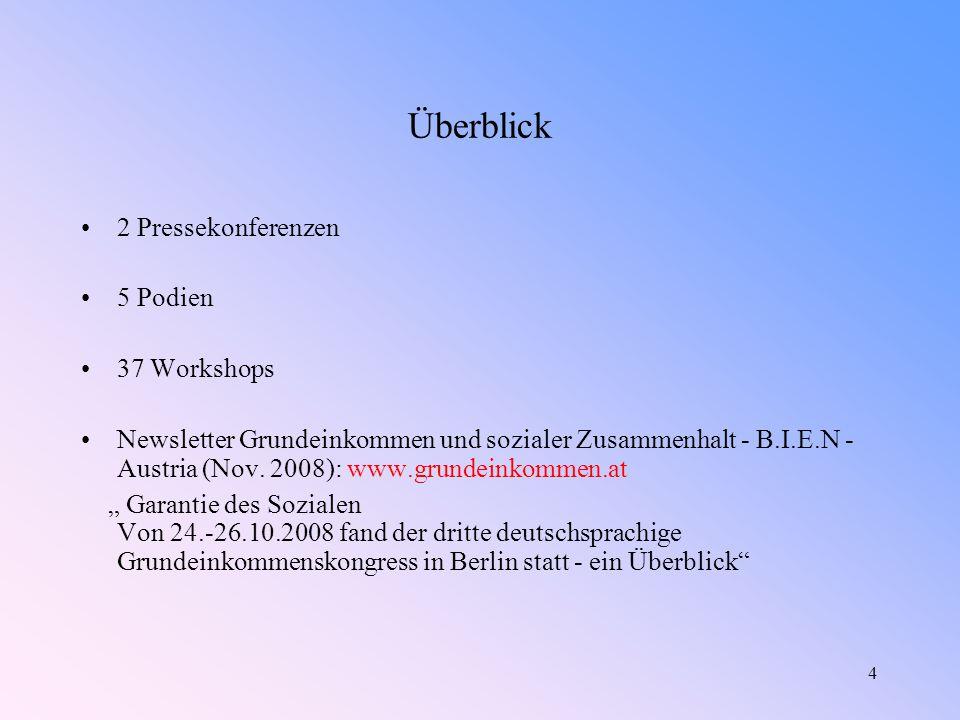4 Überblick 2 Pressekonferenzen 5 Podien 37 Workshops Newsletter Grundeinkommen und sozialer Zusammenhalt - B.I.E.N - Austria (Nov.