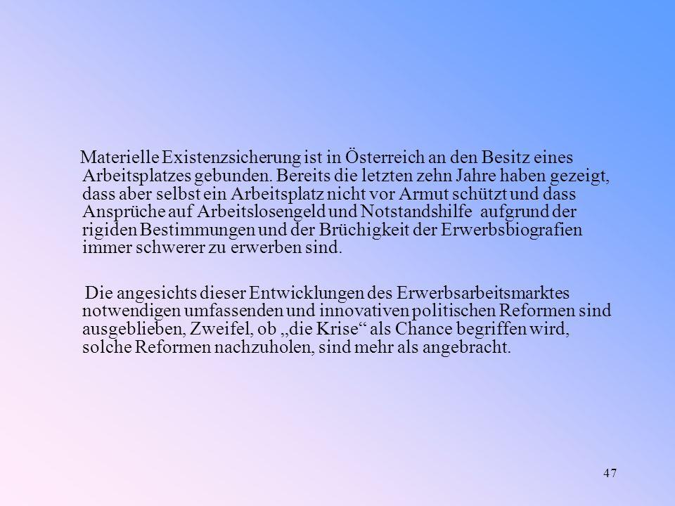47 Materielle Existenzsicherung ist in Österreich an den Besitz eines Arbeitsplatzes gebunden.