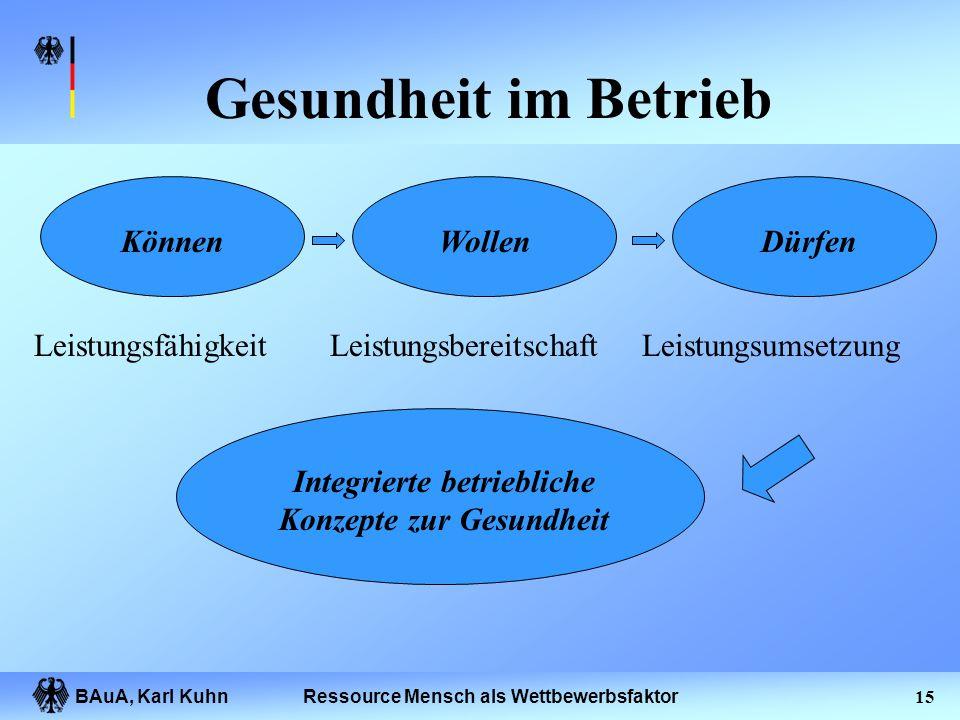 BAuA, Karl Kuhn14Ressource Mensch als Wettbewerbsfaktor Betriebsbezogene Gesundheitsaktivitäten Zeit Aktivitäten Bedingungen Individuen