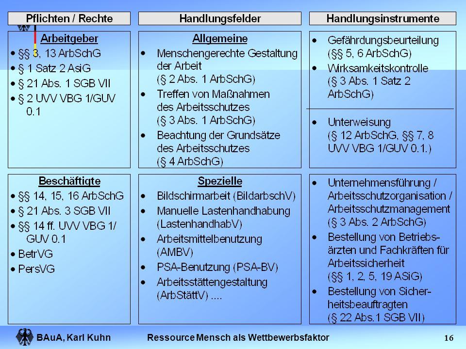 BAuA, Karl Kuhn15Ressource Mensch als Wettbewerbsfaktor Gesundheit im Betrieb KönnenWollenDürfen LeistungsfähigkeitLeistungsbereitschaftLeistungsumset