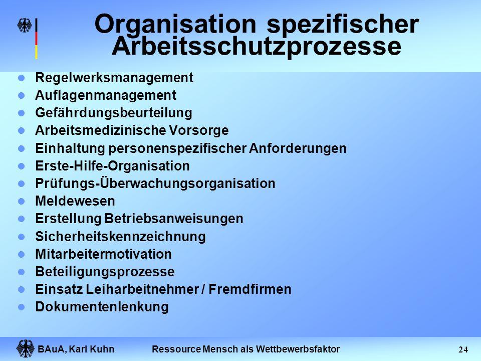 BAuA, Karl Kuhn23Ressource Mensch als Wettbewerbsfaktor Gemeinsamer Standpunkt Arbeitsschutzpolitik und -strategie Verantwortung, Aufgaben und Befugni