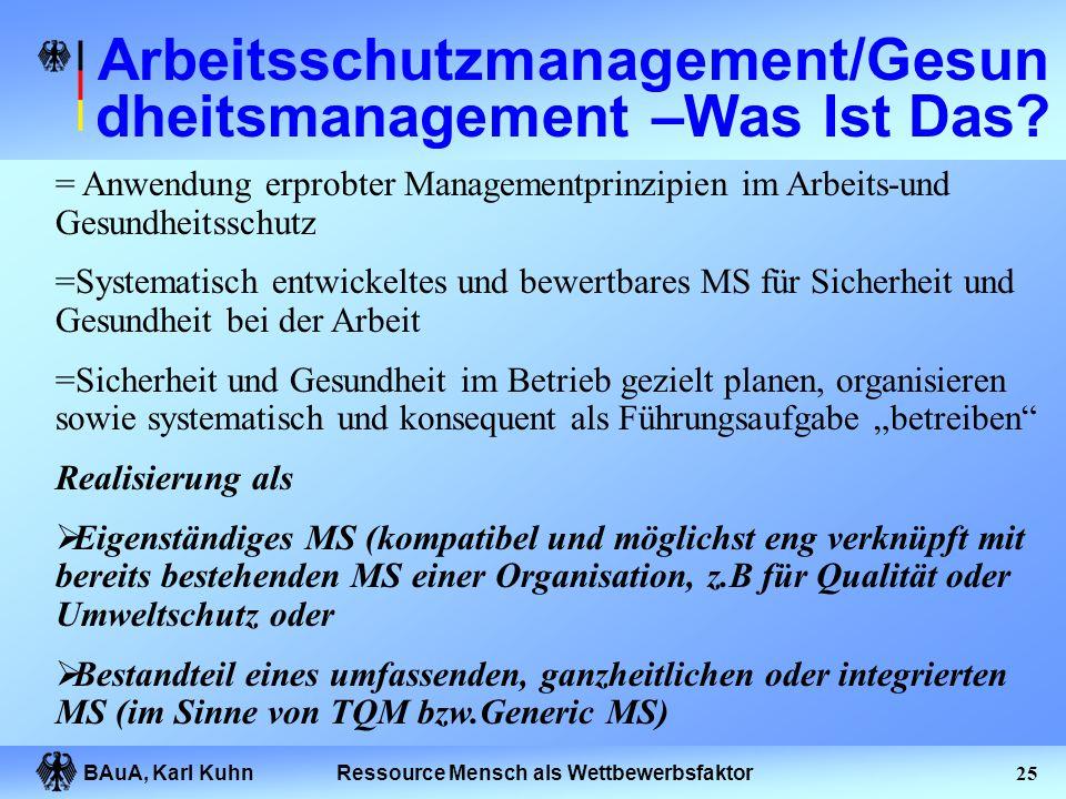 BAuA, Karl Kuhn24Ressource Mensch als Wettbewerbsfaktor Organisation spezifischer Arbeitsschutzprozesse Regelwerksmanagement Auflagenmanagement Gefähr