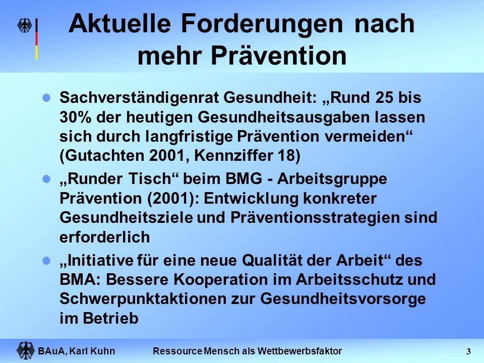 BAuA, Karl Kuhn2Ressource Mensch als Wettbewerbsfaktor Gliederung des Vortrages Prävention und Präventionsdefizite Organisation des Gesundheitsschutze
