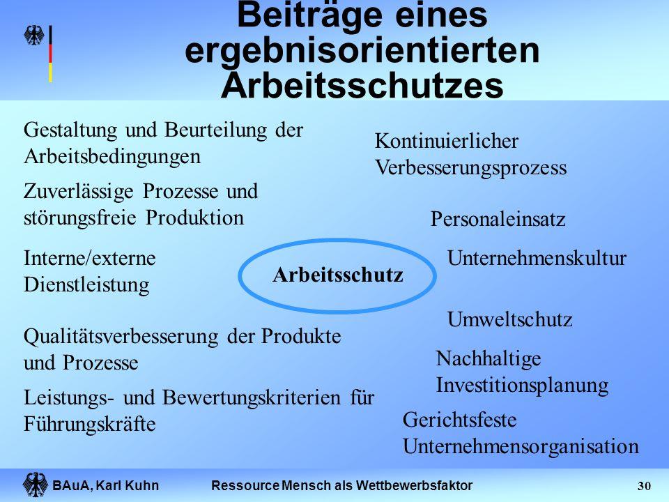"""BAuA, Karl Kuhn29Ressource Mensch als Wettbewerbsfaktor Ergebnisorientierter Arbeitsschutz Eine ergebnisorientierte Leistung """"Arbeitsschutz """" liegt vo"""