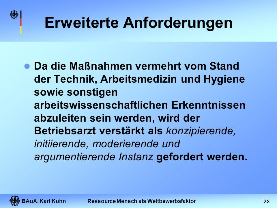 BAuA, Karl Kuhn37Ressource Mensch als Wettbewerbsfaktor Rollenverständnis des Betriebsarztes Weg von der Fixierung auf isolierte Einzelbelastung und p