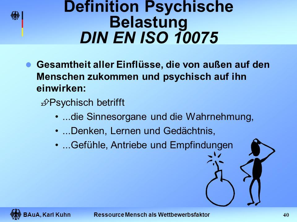 BAuA, Karl Kuhn39Ressource Mensch als Wettbewerbsfaktor Gliederung des Vortrages Prävention und Präventionsdefizite Organisation des Gesundheitsschutz