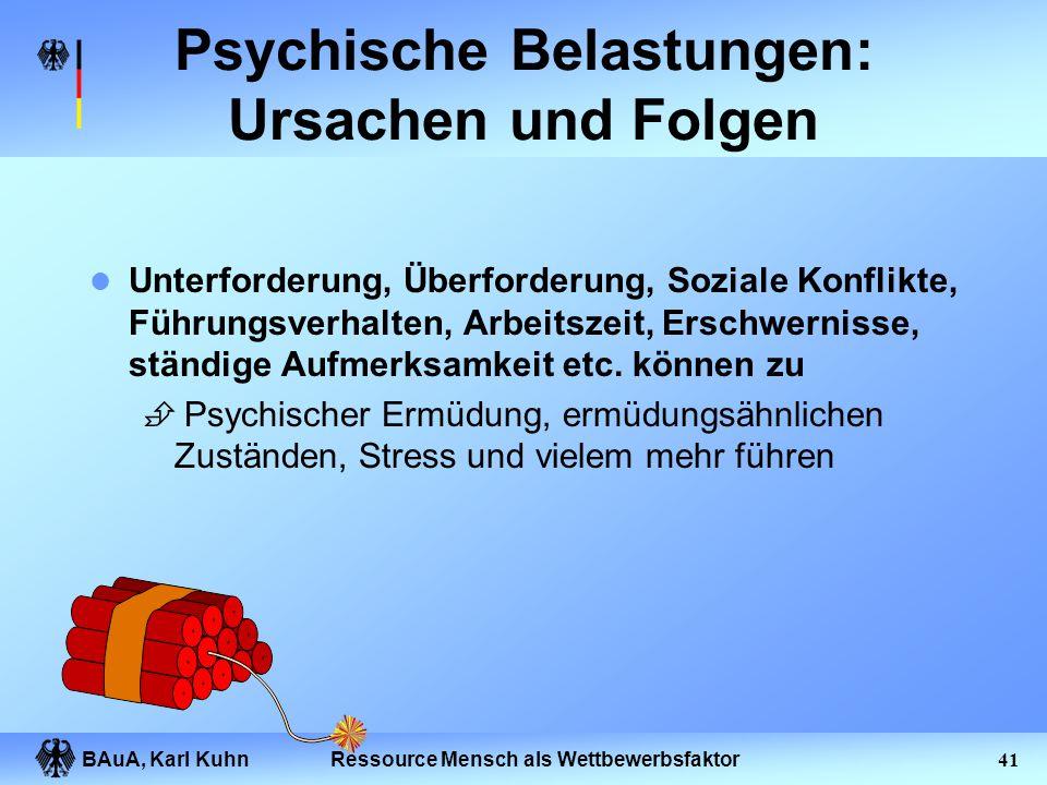 BAuA, Karl Kuhn40Ressource Mensch als Wettbewerbsfaktor Definition Psychische Belastung DIN EN ISO 10075 Gesamtheit aller Einflüsse, die von außen auf