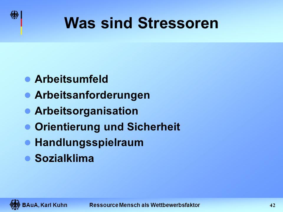 BAuA, Karl Kuhn41Ressource Mensch als Wettbewerbsfaktor Psychische Belastungen: Ursachen und Folgen Unterforderung, Überforderung, Soziale Konflikte,