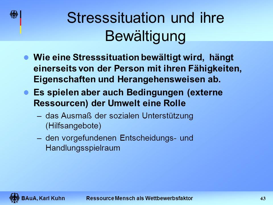 BAuA, Karl Kuhn42Ressource Mensch als Wettbewerbsfaktor Was sind Stressoren Arbeitsumfeld Arbeitsanforderungen Arbeitsorganisation Orientierung und Si