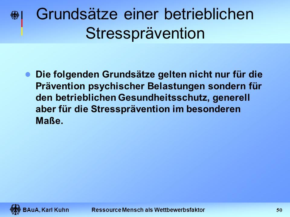 BAuA, Karl Kuhn49Ressource Mensch als Wettbewerbsfaktor Gestaltungsgrundsätze bezüglich psychischer Arbeitsbelastung Die EN ISO 10075-2 bietet Gestalt