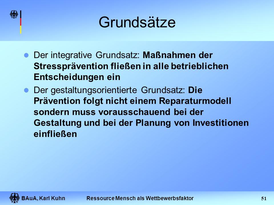 BAuA, Karl Kuhn50Ressource Mensch als Wettbewerbsfaktor Grundsätze einer betrieblichen Stressprävention Die folgenden Grundsätze gelten nicht nur für