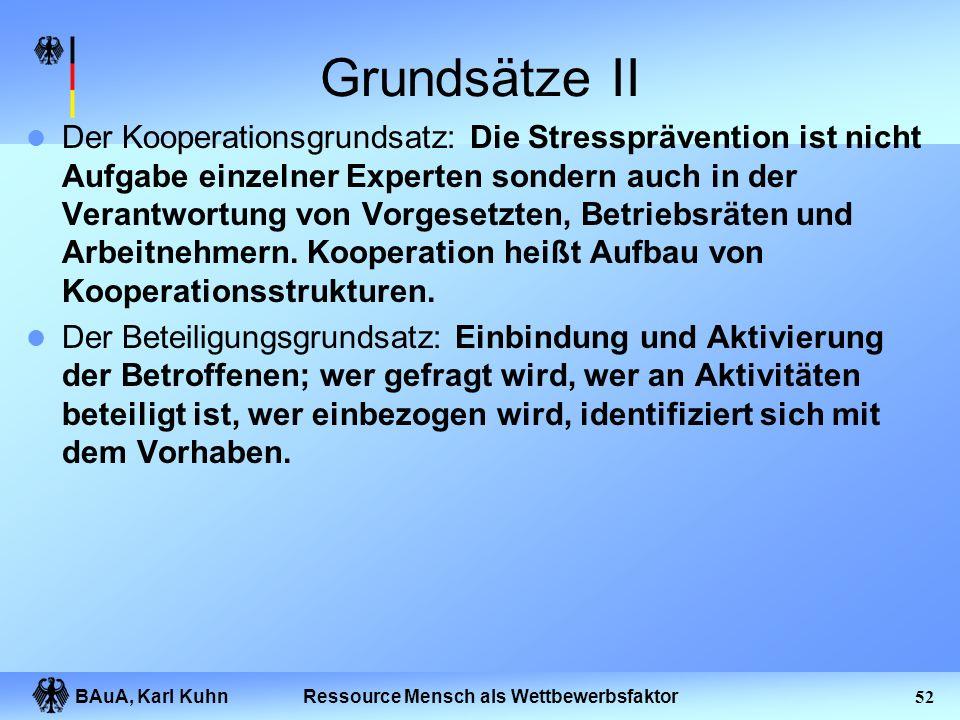 BAuA, Karl Kuhn51Ressource Mensch als Wettbewerbsfaktor Grundsätze Der integrative Grundsatz: Maßnahmen der Stressprävention fließen in alle betriebli