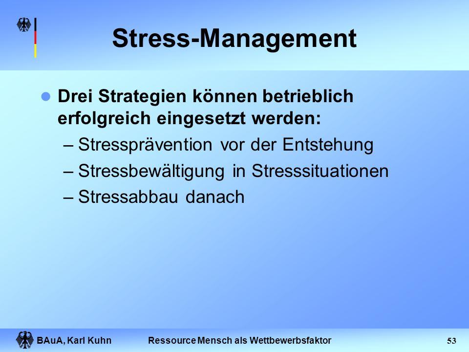 BAuA, Karl Kuhn52Ressource Mensch als Wettbewerbsfaktor Grundsätze II Der Kooperationsgrundsatz: Die Stressprävention ist nicht Aufgabe einzelner Expe