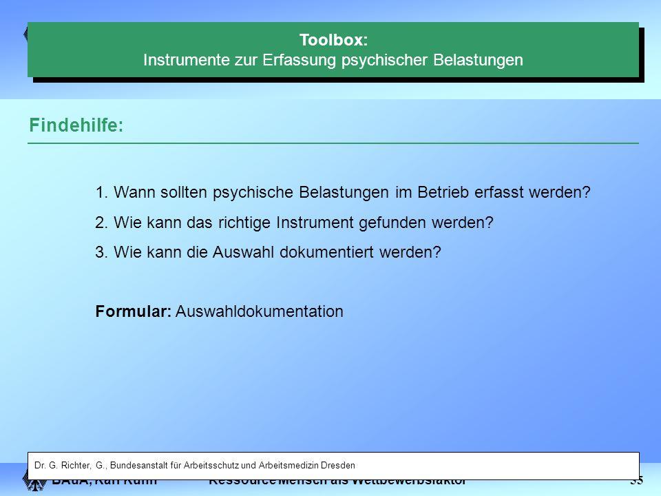 BAuA, Karl Kuhn54Ressource Mensch als Wettbewerbsfaktor Toolbox: Instrumente zur Erfassung psychischer Belastungen Inhaltsübersicht: Findehilfe Instru