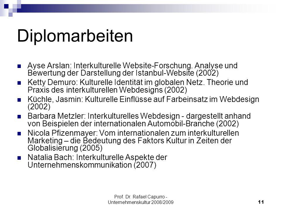Prof. Dr. Rafael Capurro - Unternehmenskultur 2008/200911 Diplomarbeiten Ayse Arslan: Interkulturelle Website-Forschung. Analyse und Bewertung der Dar