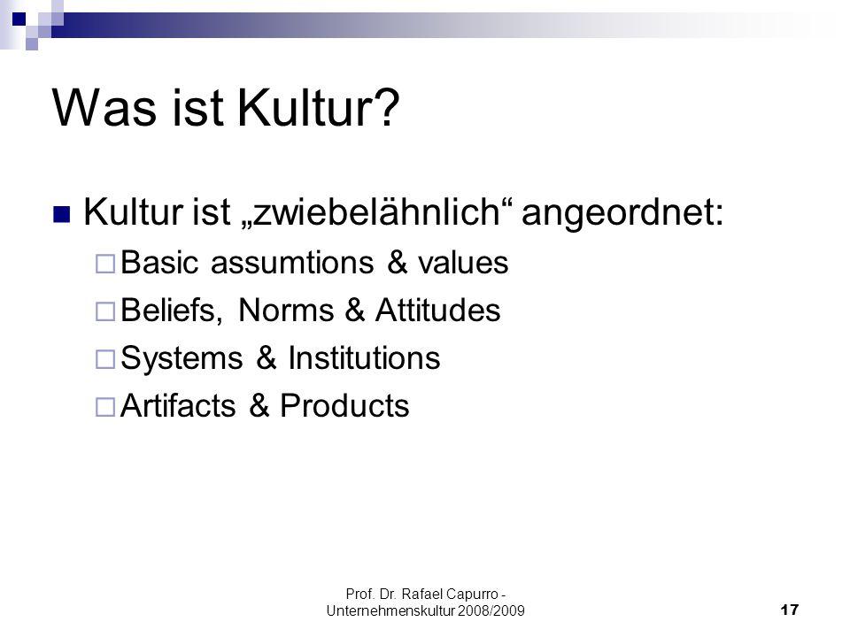 """Prof. Dr. Rafael Capurro - Unternehmenskultur 2008/200917 Was ist Kultur? Kultur ist """"zwiebelähnlich"""" angeordnet:  Basic assumtions & values  Belief"""
