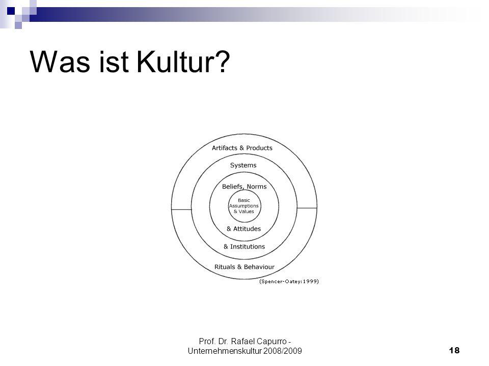 Prof. Dr. Rafael Capurro - Unternehmenskultur 2008/200918 Was ist Kultur?