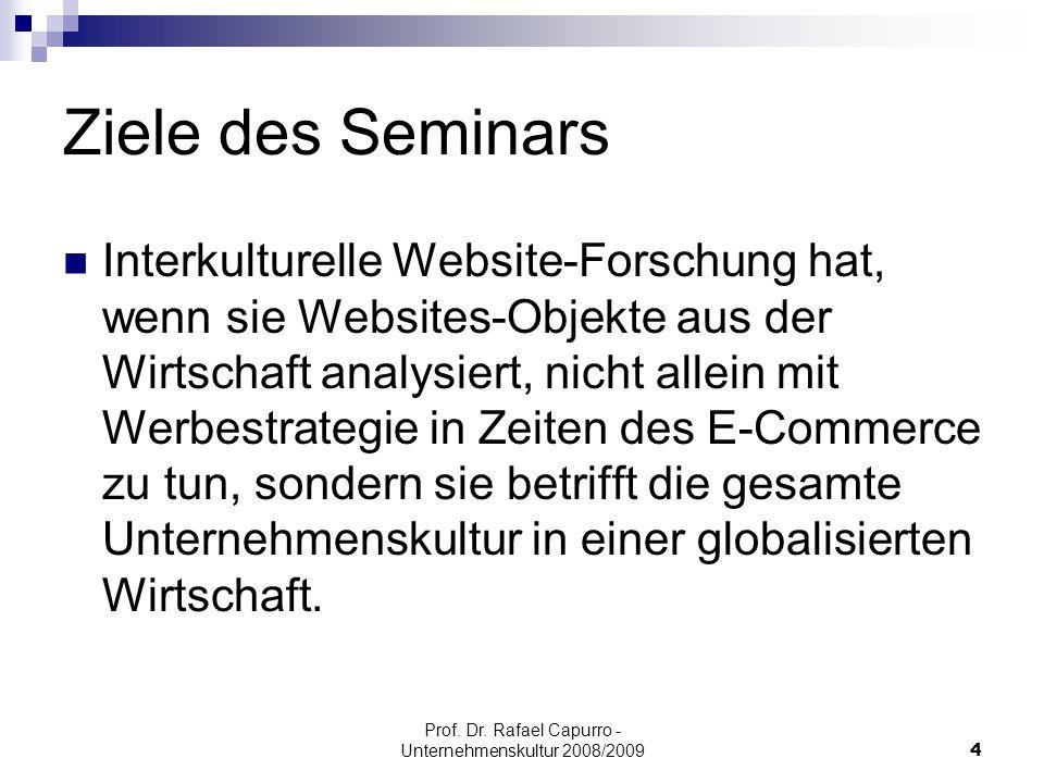 Prof. Dr. Rafael Capurro - Unternehmenskultur 2008/20094 Ziele des Seminars Interkulturelle Website-Forschung hat, wenn sie Websites-Objekte aus der W