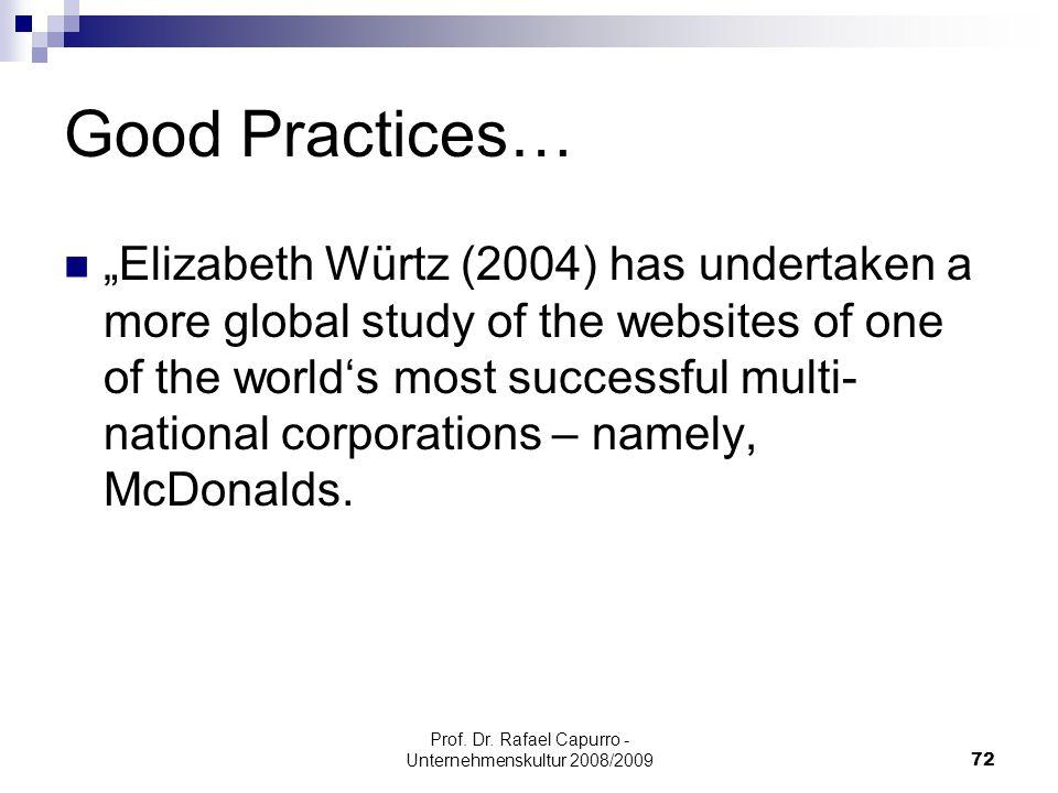 "Prof. Dr. Rafael Capurro - Unternehmenskultur 2008/200972 Good Practices… ""Elizabeth Würtz (2004) has undertaken a more global study of the websites o"