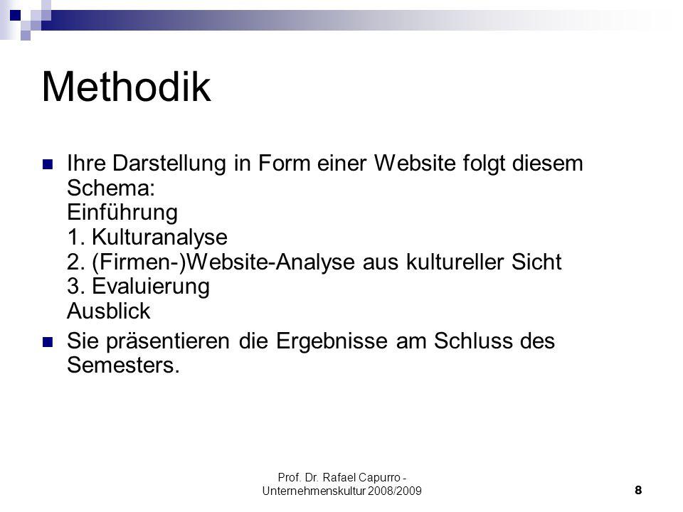 Prof. Dr. Rafael Capurro - Unternehmenskultur 2008/20098 Methodik Ihre Darstellung in Form einer Website folgt diesem Schema: Einführung 1. Kulturanal