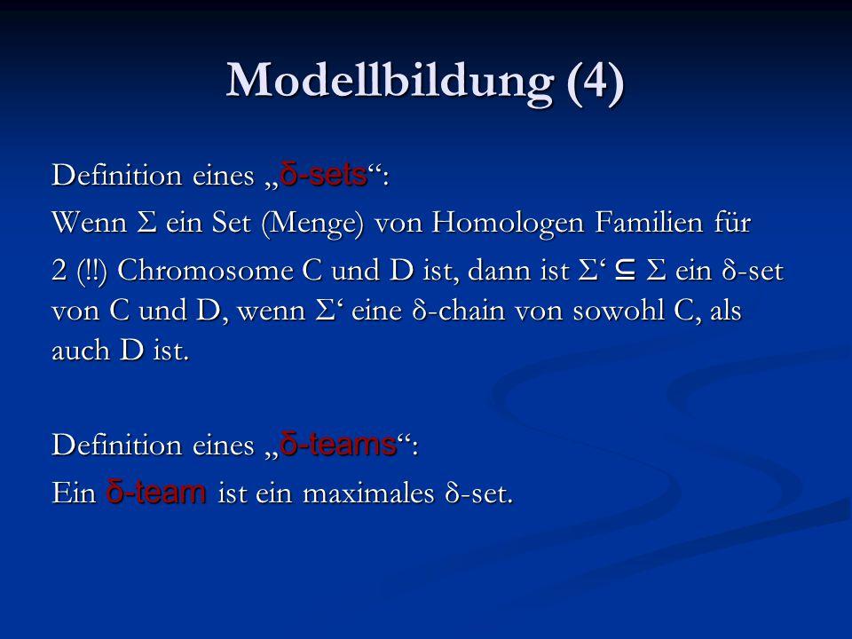 """Modellbildung (4) Definition eines """" δ-sets : Wenn Σ ein Set (Menge) von Homologen Familien für 2 (!!) Chromosome C und D ist, dann ist Σ' ⊆ Σ ein δ-set von C und D, wenn Σ' eine δ-chain von sowohl C, als auch D ist."""