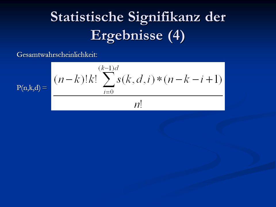 Statistische Signifikanz der Ergebnisse (4) Gesamtwahrscheinlichkeit: P(n,k,d) =