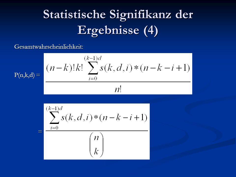 Statistische Signifikanz der Ergebnisse (4) Gesamtwahrscheinlichkeit: P(n,k,d) = =