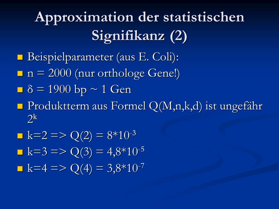 Approximation der statistischen Signifikanz (2) Beispielparameter (aus E. Coli): Beispielparameter (aus E. Coli): n = 2000 (nur orthologe Gene!) n = 2