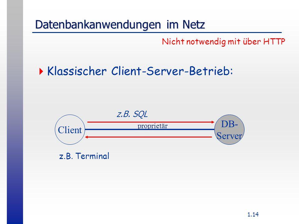 1.14 Datenbankanwendungen im Netz  Klassischer Client-Server-Betrieb: Nicht notwendig mit über HTTP Client DB- Server proprietär z.B.
