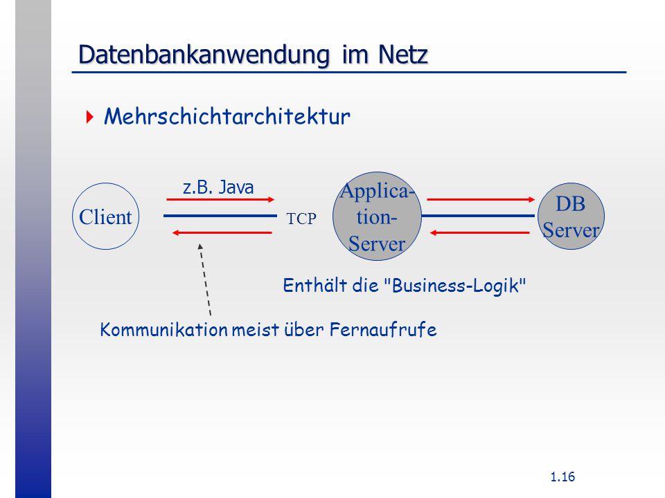 1.16 Datenbankanwendung im Netz  Mehrschichtarchitektur TCP z.B.