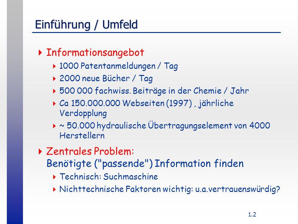 1.2 Einführung / Umfeld  Informationsangebot  1000 Patentanmeldungen / Tag  2000 neue Bücher / Tag  500 000 fachwiss.